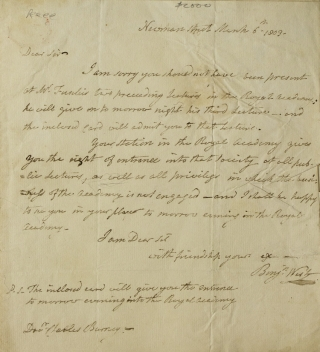 "Autograph letter signed (""Benjn. West""), to Charles Burney, Jr, regarding Fuseli's lectures to..."