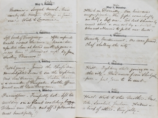 Original manuscript diary documenting the service of a British officer during the latter stages of the Sepoy Mutiny
