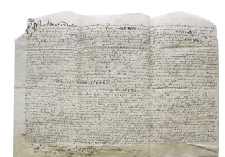 Manuscript indenture from the reign of Queen Elizabeth I of England. Thomas Cheyney, John Partridge
