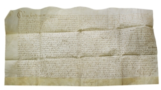 Manuscript indenture from the reign of Queen Elizabeth between David Arrey (?) and Richard...