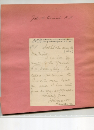 "Autograph letter signed ""J. H. Vincent"" To ""Dear Friend."" Chautaquua, John H. Vincent, D. D"