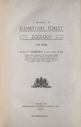 A Manual of Elementary Forest Zoology for India