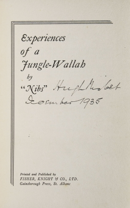 "Experiences of a Jungle-Wallah. by ""Nibs."""