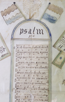 Dutch-American Illustrated manuscript broadside of Psalm 130 with allegorical elements