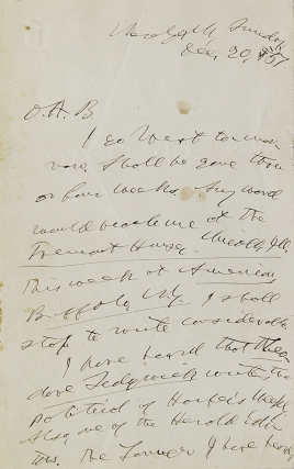"Autograph Letter, signed (""Horace Greeley"") to Obidiah A. Bowie (""O.A.B.""). Horace Greeley"