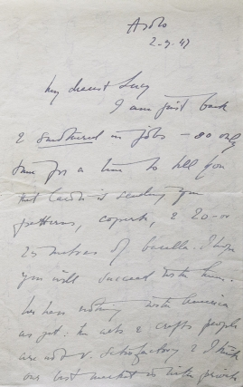 Archive of 88 Autograph letters, signed, from Freya Stark, to Lucy Beach, Minnie Gray Granville, Stefana Drower, Peggy Drower, Sir Sydney Cockerell, and others, with related materials. [And:] Research archives of biographer Jane Geniesse, author of Passionate Nomad