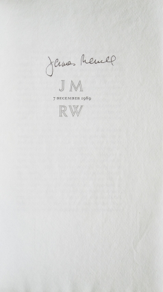 JM 7 December 1989 RW. James Merrill, Richard Wilbur