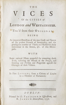 The Vices of the Cities of London and Westminster … In Five Letters, from a Citizen of London...