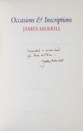 Occasions & Inscriptions. James Merrill