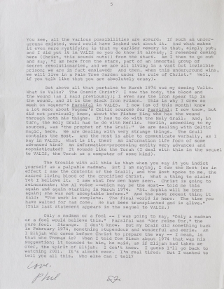 """Typed Letter, signed (""""Love, Phil""""), to """"Pat"""" [Patricia Warrick], 10 January 1981, on anamnesis and identity, the events of March 1974, and his novel Valis"""