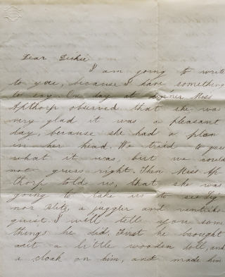 "Autograph Letter Signed (""Beckie""), addressed to her 14 year-old brother, Richard Morse, Andover,..."