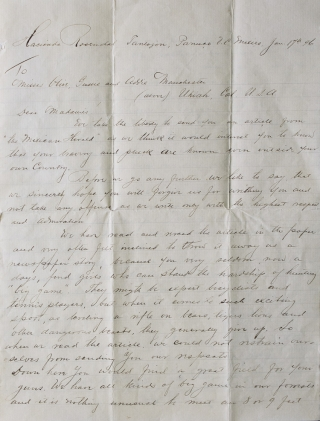 Autograph letter signed by Guido de Voltaire, Edward Thimgren & A. Rahm, to the sisters Olive,...