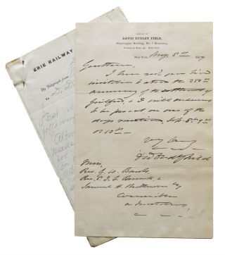 "Autograph letter signed (""David Dudley Field"") accepting invitation to 250th anniversary..."