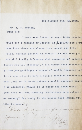 "Typed letter signed (""G.W. Cable"") to Mr. F.C. Norton (""Dear Sir"") answering a request for..."
