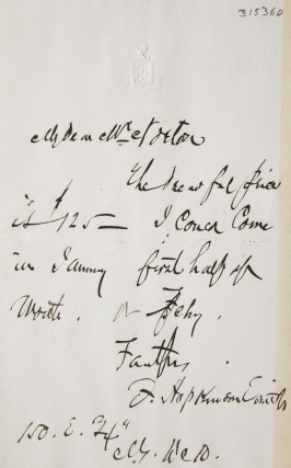 "Autograph note signed (""F. Hopkinson Smith"") to (""My Dear Mr. Norton"") quoting a lecture price of..."