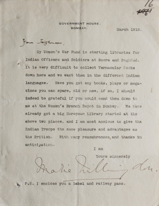 "Typed letter signed Lady Marie Willingdon (""Marie Willingdon"") to the Rajsaheb (""Your Highness""),..."