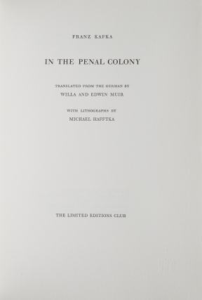 In the Penal Colony. Translated by Willa and Edwin Muir
