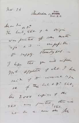 "Autograph letter signed (""Ch. Darwin""), to Charles Layton, Appleton's London agent, about a..."
