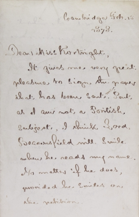 "Autograph letter signed (""Henry W. Longfellow""), to the English novelist Fanny Aikin Kortright,..."