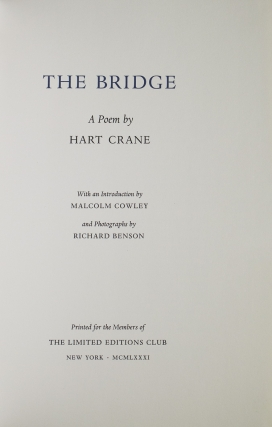The Bridge. A Poem. With an Introduction by Malcolm Cowley