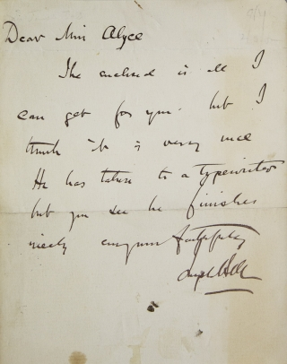 "Autograph note signed (""Joseph Bell""), to a Miss Alyce, providing an autograph of Arthur Conan..."