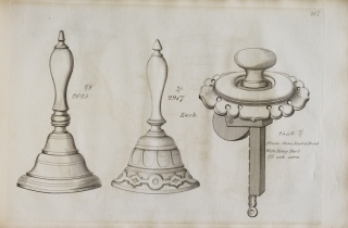 Engraved pattern book of cast brass furniture fittings and other hardware