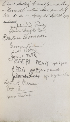 Guest book of yacht Sheelah, signed by Robert E. Peary, 21 September 1909, upon his return from the North Pole