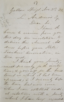 "Autograph letter signed (""Horace Mann""), to L. Andrews, accepting the invitation of the Ohio..."
