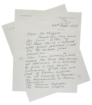 "Autograph Letter, signed (""Glubb""), discussing his writing, and conveying a carbon..."