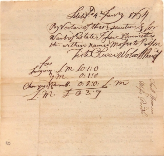 """Autograph document signed (""""Oliver Wolcott"""") as sheriff of the County of Litchfield, Connecticut, also signed (""""Isaac Baldwin"""") as Clerk of the County"""