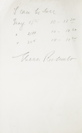 "ANS. ""I can be there May 15..."" Signed Eleanor Roosevelt. Eleanor ROOSEVELT"