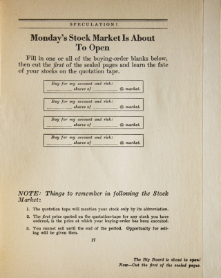 Speculation! The Wall Street Game-Book