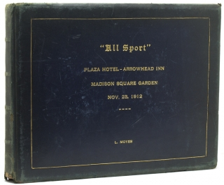 "Album of 17 original silver print coaching photographs, upper cover gilt-titled ""'All Sport' / Plaza Hotel - Arrowhead Inn - Madison Square Garden / Nov. 23, 1912 / L. Moyes"". Coaching."