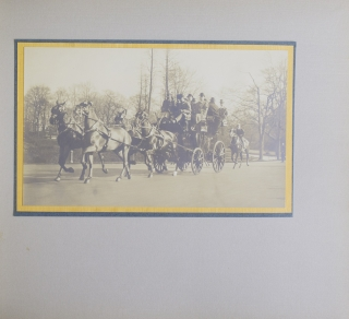"Album of 17 original silver print coaching photographs, upper cover gilt-titled ""'All Sport' / Plaza Hotel - Arrowhead Inn - Madison Square Garden / Nov. 23, 1912 / L. Moyes"""