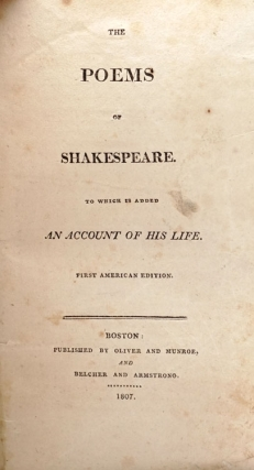 The Poems of Shakespeare. To which is Added An Account of his Life