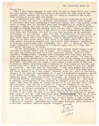 "Typed Letter to ""Prince Hal,"" with autograph note: ""unmailed letter to Hal Chase 1947"" Jack Kerouac"