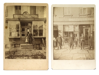 "Photographs of New York City 1. with sign above ""Merchant Tailor"" with man and daughter on steps ..."