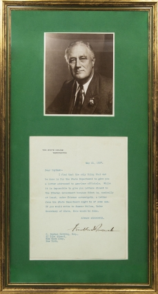 "Typed letter, Signed (""Franklin D. Roosevelt""), as president, on White House stationery, to C...."