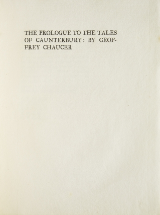 The Prologue to the Tales of Caunterbury