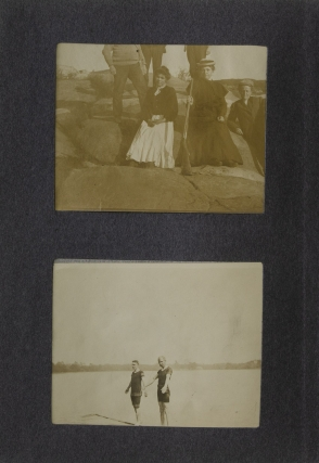 Album of photographs along the Humber River in Newfoundland and Labrador, including images of indigenous peoples and salmon fishing