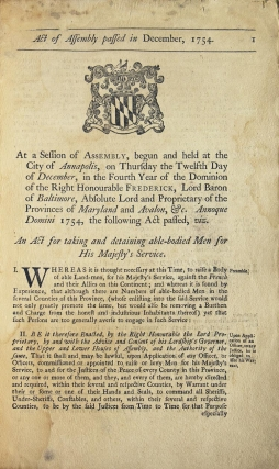 Act of Assembly passed in December, 1754. At a session of Assembly, begun and held at the city of...