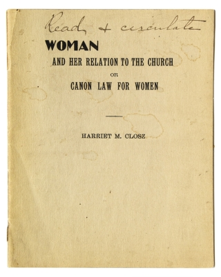 Woman and Her Relation to the Church. Elizabeth Cady Stanton, Harriet M. Closz