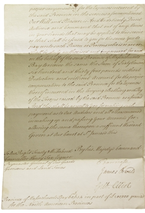 """Manuscript document signed """"George R"""" authorizing payment of £60,634 to the Province of Massachusetts Bay in compensation for levying, clothing and paying troops to fight against the French"""