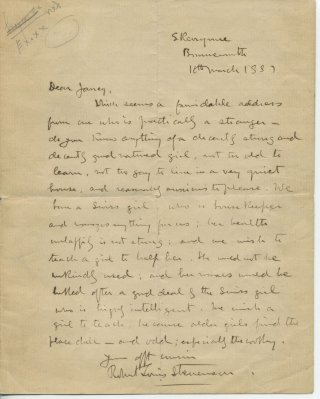 "Autograph Letter, signed (""Your afft cousin, Robert Louis Stevenson"") to ""Janey"" (Jane ,..."
