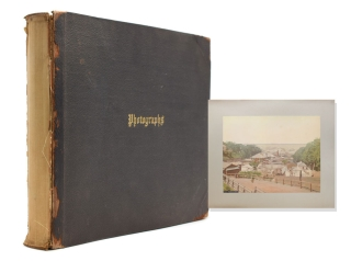 Album of Japanese 8 hand-coloured photographs and 14 others mostly Mexican including birds eye...