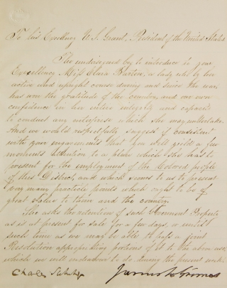 Manuscript letter signed by Senator Carl Schurz and Senator James W. Grimes, to President Ulysses...
