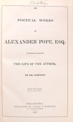 The Poetical Works of … to which is prefixed a Life of the Author by Dr. Johnson