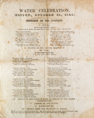 Water Celebration, Boston, October 25, 1848, Exercises at the Fountain ... III. Ode. By James...