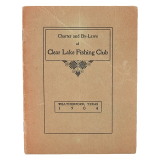 Charter and By-Laws of Clear Lake Fishing Club [Cover title]