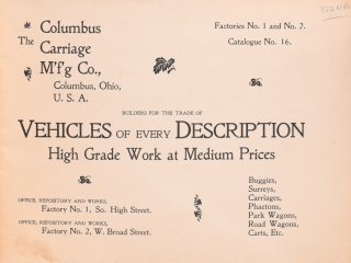 The Columbus Carriage Mfdg. Co. Catalogue 16...Builders for the Trade of Vehicles of Every Description